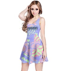Girls Bright Pastel Summer Design Blue Pink Green Reversible Sleeveless Dress