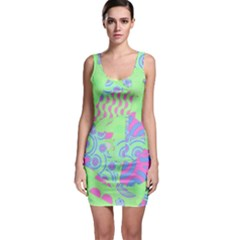 Tropical Neon Green Purple Blue Bodycon Dress