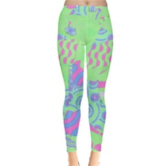 Tropical Neon Green Purple Blue Leggings