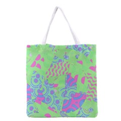 Tropical Neon Green Purple Blue Grocery Tote Bag