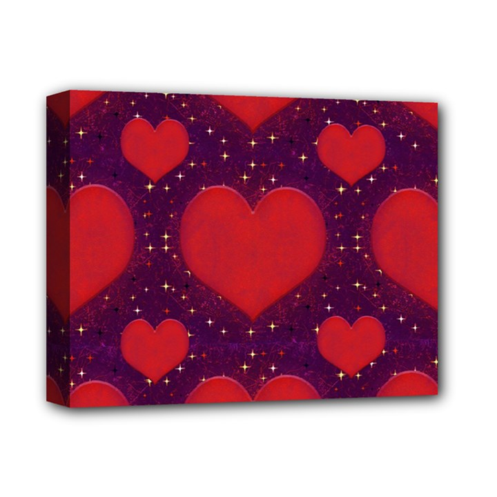 Galaxy Hearts Grunge Style Pattern Deluxe Canvas 14  x 11  (Framed)