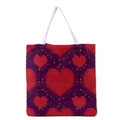 Galaxy Hearts Grunge Style Pattern Grocery Tote Bag