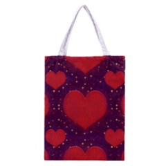 Galaxy Hearts Grunge Style Pattern Classic Tote Bag