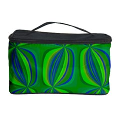 Curvy Hot Neon Green Blue Tropical Cosmetic Storage Case