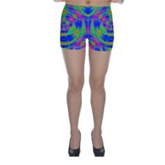 Neon Abstract Circles Skinny Shorts