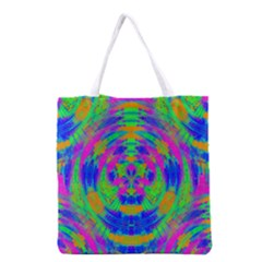 Neon Abstract Circles Grocery Tote Bag