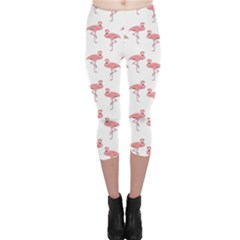Pink Flamingo Pattern Capri Leggings