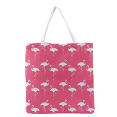 Flamingo White On Pink Pattern Grocery Tote Bag