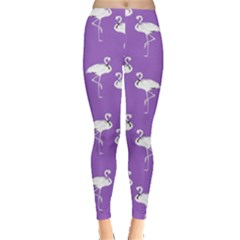 Flamingo White On Lavender Pattern Leggings