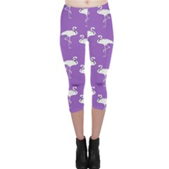Flamingo White On Lavender Pattern Capri Leggings