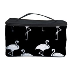 Flamingo Pattern White On Black  Cosmetic Storage Case