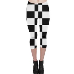 Checkered Flag Race Winner Mosaic Tile Pattern Capri Leggings