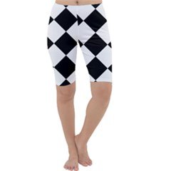 Harlequin Diamond Mosaic Tile Pattern Black White Cropped Leggings
