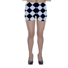 Harlequin Diamond Mosaic Tile Pattern Black White Skinny Shorts