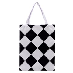 Harlequin Diamond Mosaic Tile Pattern Black White Classic Tote Bag
