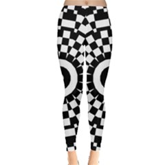 Checkered Black White Tile Mosaic Pattern Leggings