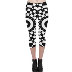 Checkered Black White Tile Mosaic Pattern Capri Leggings