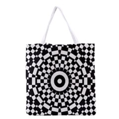 Checkered Black White Tile Mosaic Pattern Grocery Tote Bag
