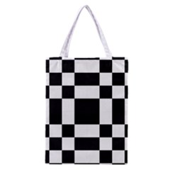 Checkered Mosaic Tile Pattern Black White  Classic Tote Bag