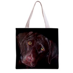 Inquisitive Chocolate Lab Grocery Tote Bag