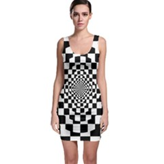 Checkered Flag Race Winner Mosaic Tile Pattern Repeat Bodycon Dress