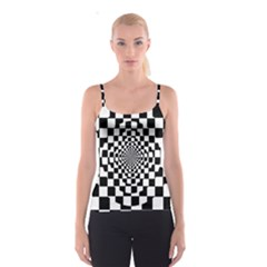 Checkered Flag Race Winner Mosaic Tile Pattern Repeat Spaghetti Strap Top