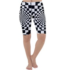 Checkered Flag Race Winner Mosaic Tile Pattern Repeat Cropped Leggings