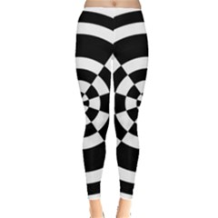 Checkered Flag Race Winner Mosaic Tile Pattern Round Pie Wedge Leggings