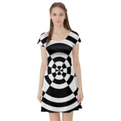 Checkered Flag Race Winner Mosaic Tile Pattern Round Pie Wedge Short Sleeved Skater Dress
