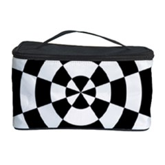 Checkered Flag Race Winner Mosaic Tile Pattern Round Pie Wedge Cosmetic Storage Case