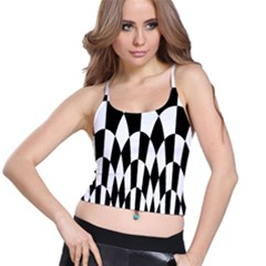 Checkered Flag Race Winner Mosaic Pattern Curves  Women s Spaghetti Strap Bra Top
