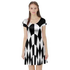 Checkered Flag Race Winner Mosaic Pattern Curves  Short Sleeved Skater Dress