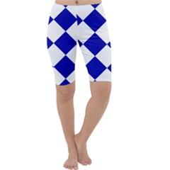 Harlequin Diamond Pattern Cobalt Blue White Cropped Leggings