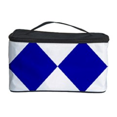 Harlequin Diamond Pattern Cobalt Blue White Cosmetic Storage Case