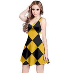 Harlequin Diamond Gold Black Sleeveless Dress