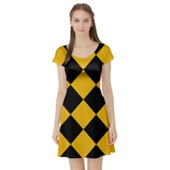 Harlequin Diamond Gold Black Short Sleeved Skater Dress