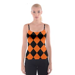 Harlequin Diamond Orange Black Spaghetti Strap Top