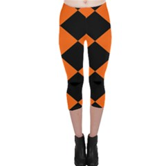 Harlequin Diamond Orange Black Capri Leggings