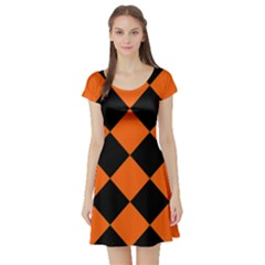 Harlequin Diamond Orange Black Short Sleeved Skater Dress