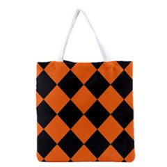 Harlequin Diamond Orange Black Grocery Tote Bag