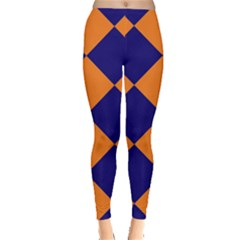 Harlequin Diamond Navy Blue Orange Leggings