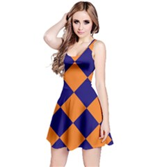 Harlequin Diamond Navy Blue Orange Sleeveless Dress