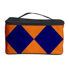 Harlequin Diamond Navy Blue Orange Cosmetic Storage Case
