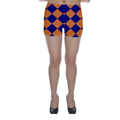 Harlequin Diamond Navy Blue Orange Skinny Shorts