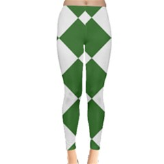 Harlequin Diamond Green White Leggings