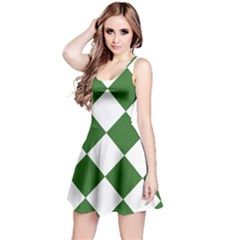 Harlequin Diamond Green White Sleeveless Dress