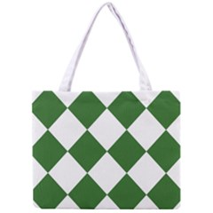 Harlequin Diamond Green White Tiny Tote Bag