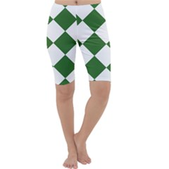 Harlequin Diamond Green White Cropped Leggings