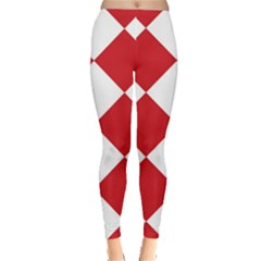 Harlequin Diamond Red White Leggings