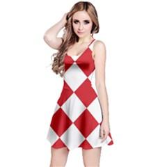 Harlequin Diamond Red White Sleeveless Dress